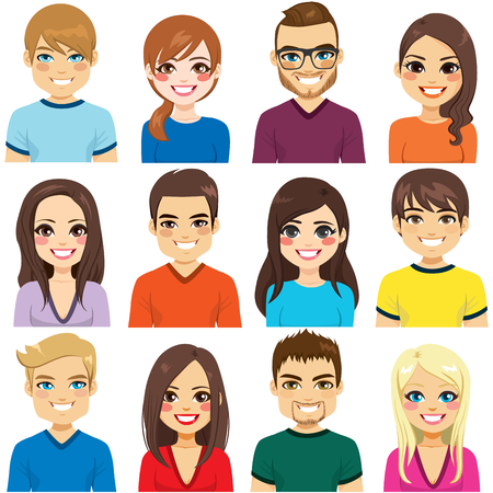 Collection of twelve different people avatar portraits Illustration