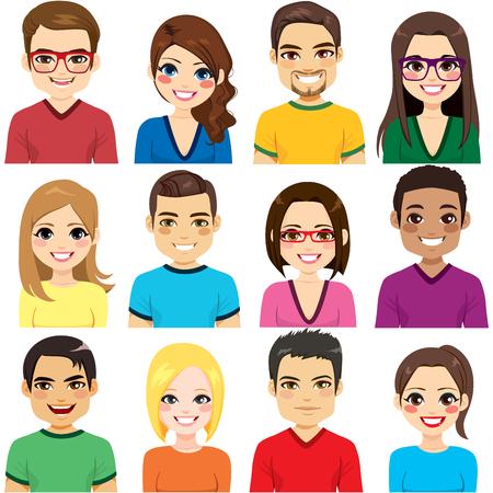 Zbiór dwunastu różnych portretów awatarów z grupy uśmiechniętych