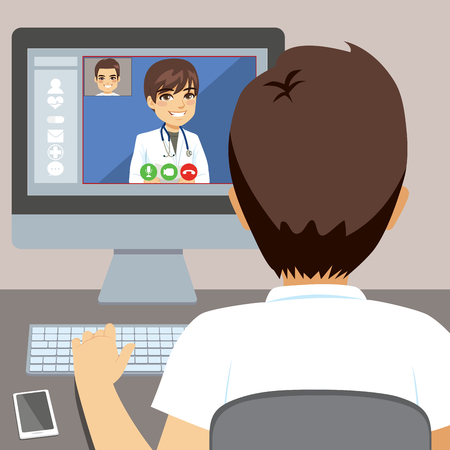 Young man using computer to talk with male doctor online consultation concept Иллюстрация