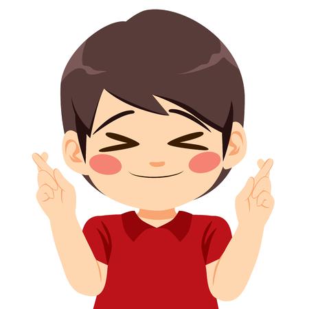 Schattige kleine lieve jongen wens met gekruiste vingers en ogen gesloten