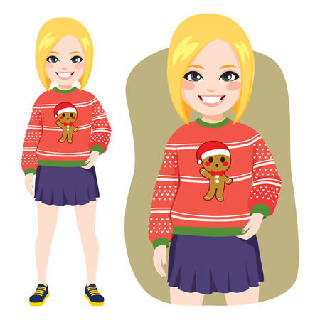 Beautiful young happy face expression blonde woman standing with ugly gingerbread Christmas sweater