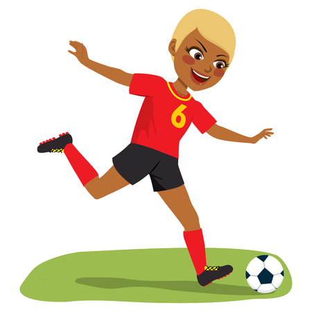 Young beautiful black soccer player girl playing football with black and red uniform