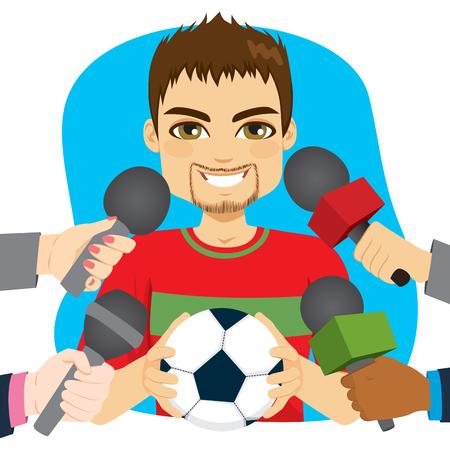 Jugador de fútbol masculino joven que sostiene la bola y las manos que sostienen los micrófonos en la entrevista Ilustración de vector