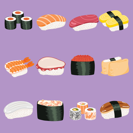 Collection set of different varied Japanese sushi snack food