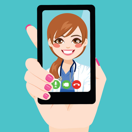 Close up illustration of woman hand holding smartphone female doctor consultation online concept Stock Vector - 109790119