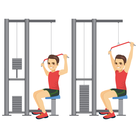 Illustration of bodybuilder fitness man in two different action position on pull down machine