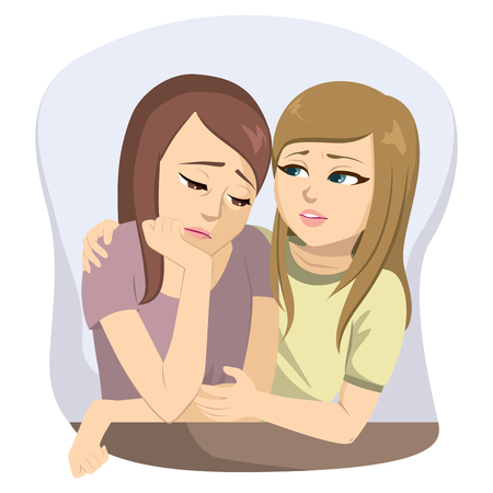 Jeunes amies tristes ayant des problèmes et parler ensemble réconfortant