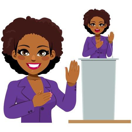 Politico afroamericano femminile che fa una promessa di giuramento Vettoriali