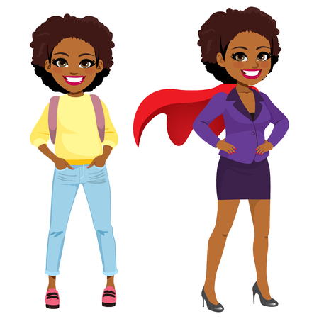 Young student African American girl transforming into super business woman
