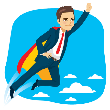 Super hero business man flying in blue sky leadership concept Vectores