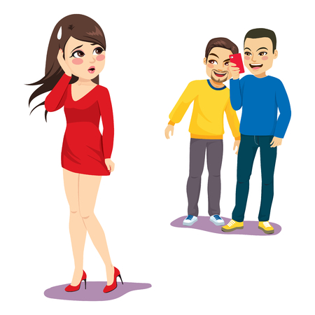 Two men stalking woman taking photos smartphone harassment concept