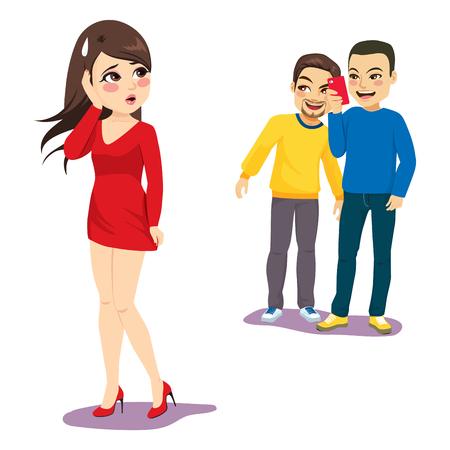Two men stalking woman taking photos smartphone harassment concept Standard-Bild - 109747566
