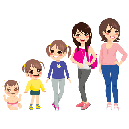 Woman growing stages from baby girl to adult Vector Illustration