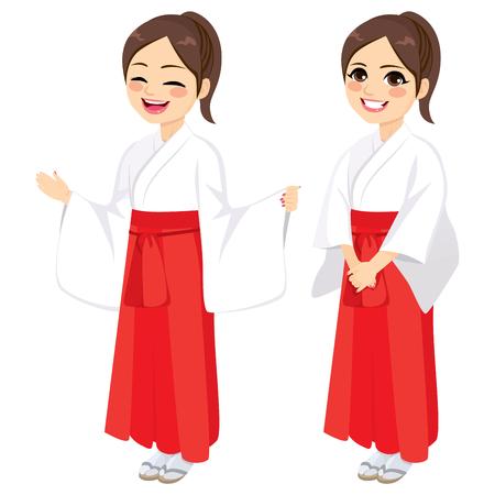Japanisches Mädchen, das traditionelles zeremonielles Kleid der Miko-Priesterin trägt