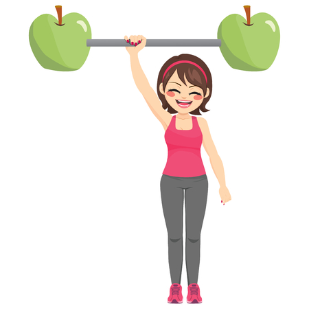 Happy strong woman exercising with apple dumbbell bar weightlifting with one arm healthy diet concept