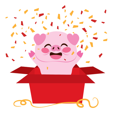 Cute pig inside open red surprise gift box celebrating new year party happy Illustration