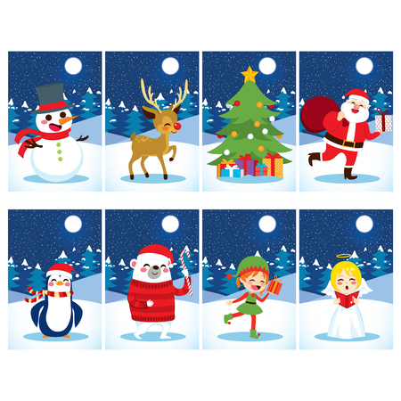Christmas postcard collection with different cute characters and snow winter background 向量圖像