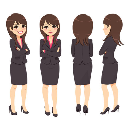 Happy young adult businesswoman from different angle view
