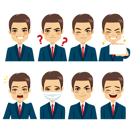 Handsome brown haired young adult businessman on eight different face expressions avatar collection