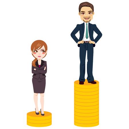 Concetto di divario retributivo di genere donna e uomo in piedi su una quantità diversa di monete di denaro problema della gente d'affari