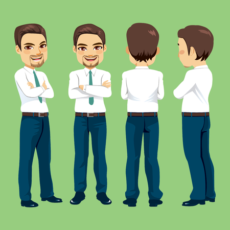 Happy smiling young adult businessman from different angle view Illustration