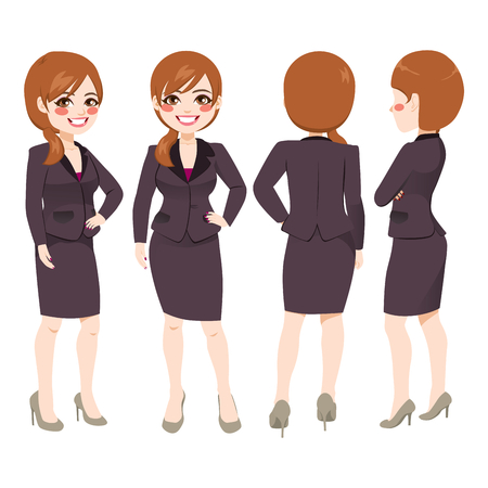 Happy smiling young adult businesswoman from different angle view