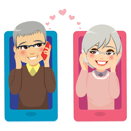Smartphone concept illustration of senior couple in love talking