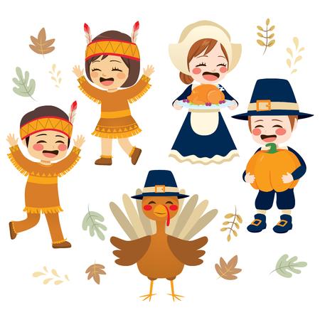 Lindo día festivo de la temporada navideña de Acción de Gracias con adorable peregrino nativo americano y colección de personajes de turquía Ilustración de vector