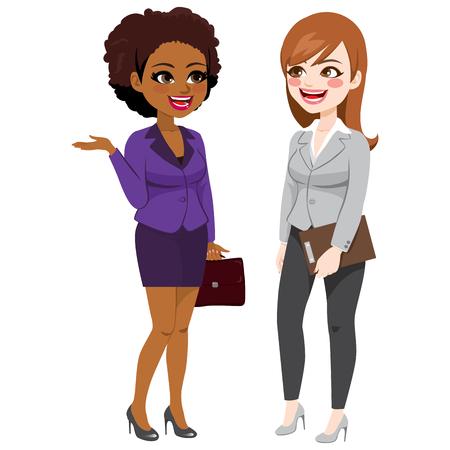 Dos hermosas mujeres empresarias hablando de pie juntos en el trabajo Ilustración de vector
