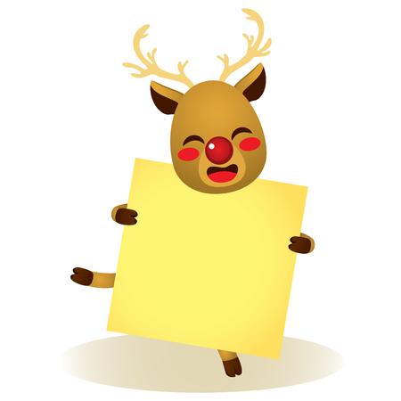 Cute happy Christmas reindeer holding blank banner Vectores