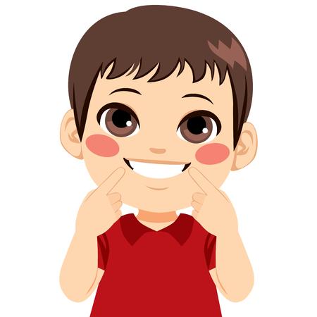 Jeune garçon heureux souriant montrant son sourire blanc pointant du doigt la bouche Vecteurs