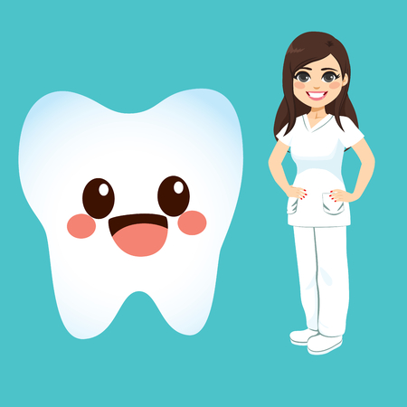 Cute big tooth cartoon character and female dentist standing on green background