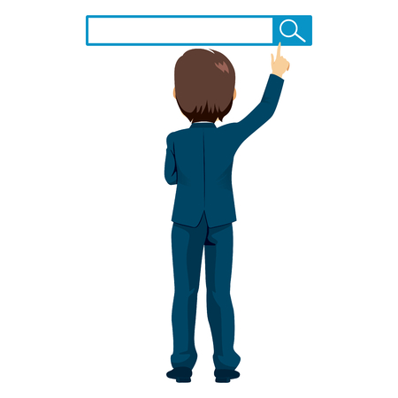 Back view illustration of businessman standing reaching search button concept