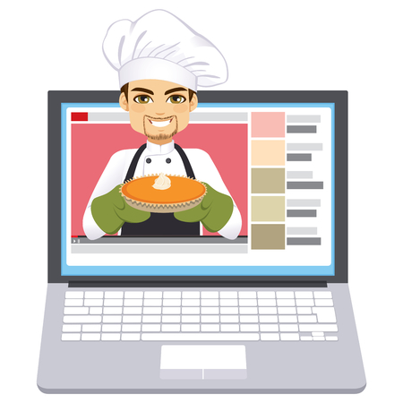 Young professional chef holding cake blogger how to cook tutorial