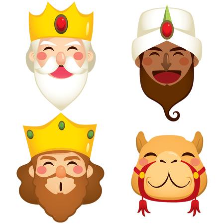 Masques drôles de trois rois sages et de visages de chameau