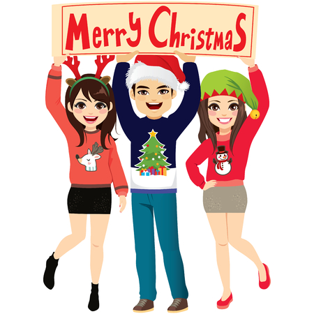 Happy funny people at party holding Merry Christmas banner Ilustração