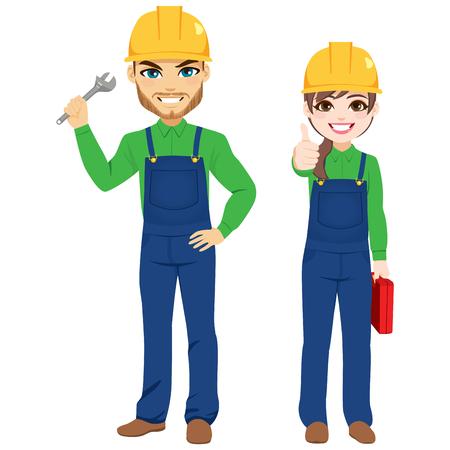 Travailleurs masculins et féminins tenant une clé à molette et une équipe de constructeurs de boîtes à outils