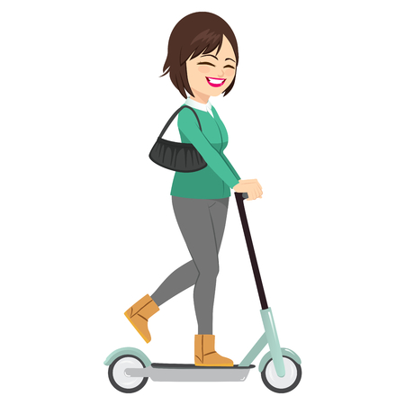Young beautiful woman riding electric scooter happy