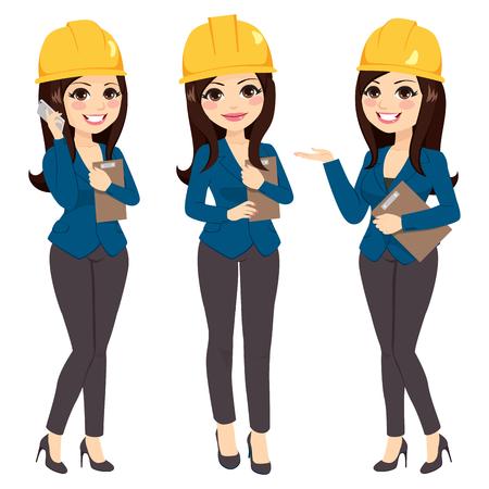 Bella donna architetto in tre diverse pose che indossa un casco giallo Vettoriali