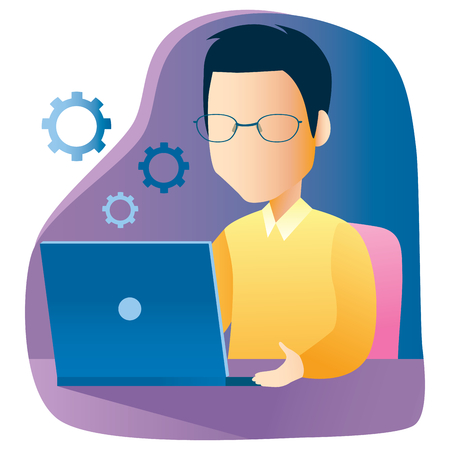 Man working using laptop on desk programming code