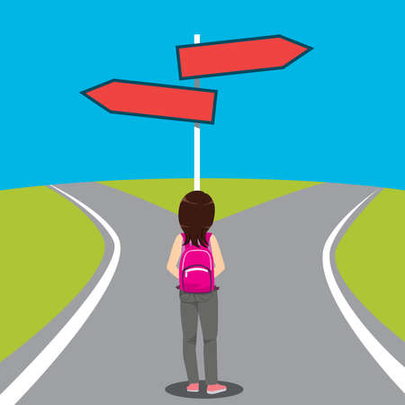 Young girl student with two different path choice direction