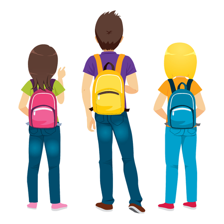 Back view of college students standing with backpacks