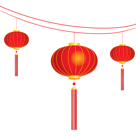 Chinese new year lanterns to make good fortune concept