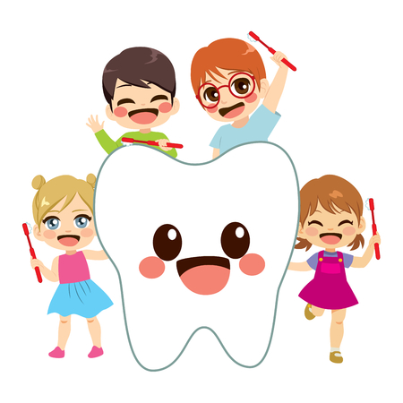 Happy cute little children holding toothbrush with big tooth character friend Banque d'images - 113294820