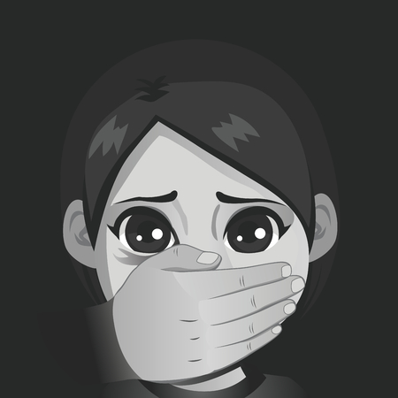 Illustration of young scared girl with adult hand on mouth child abuse concept