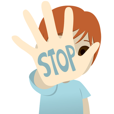 Illustration of little kid hand with stop text child abuse concept