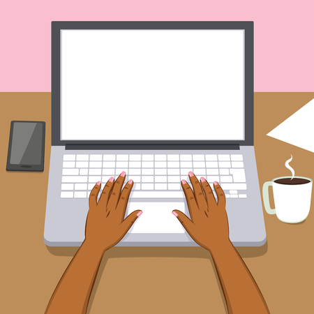 Black woman hands writing working on laptop with coffee cup and smartphone on table 矢量图像