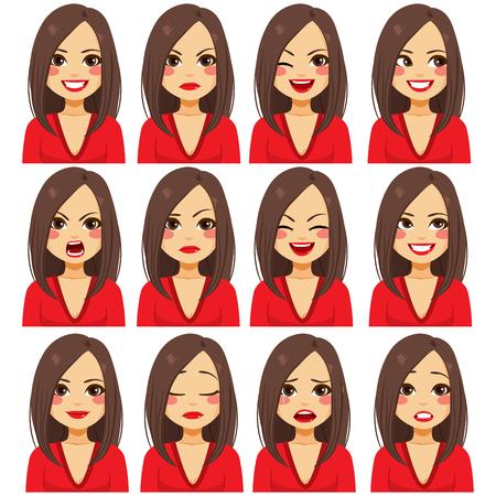 Junge schöne brünette Frau mit zwölf verschiedenen Gesichtsausdrücken