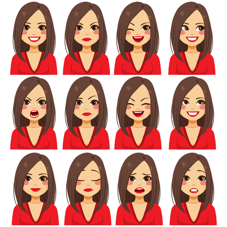 Młoda piękna brunetka z dwunastoma różnymi wyrazami twarzy