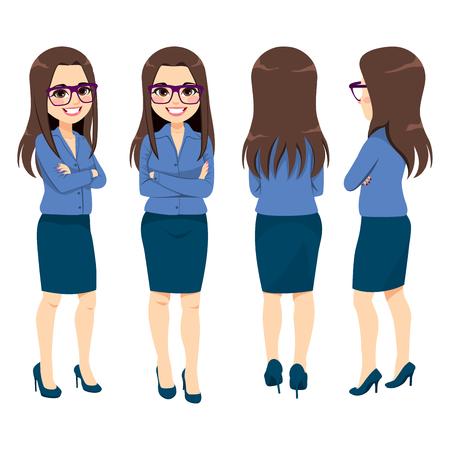 Sorridenti giovane imprenditrice adulta con gli occhiali da diverse angolazioni di vista Vettoriali